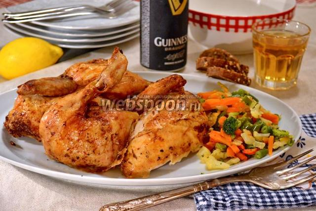 Курица в пиве в духовке, запеченная на банке – рецепт с фото